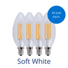 Four filament candelabra light bulbs in soft white with a burst reading 40 watt equivalent