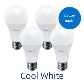 Four standard lightbulbs in cool white with a burst reading 60 watt equivalent
