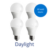 Four standard lightbulbs in daylight with a burst reading 60 watt equivalent