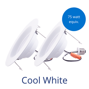 Two downlight retrofit fixtures in cool white with a burst reading 75 watt equivalent