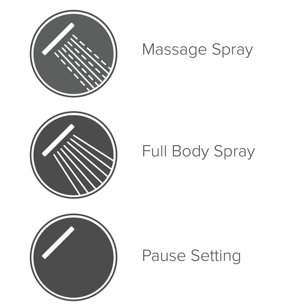 Infographic showing three functions: massage spray, full body spray, and pause setting