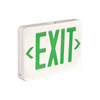 An Exit sign with green text