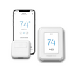 White thermostat and sensor shown with smart phone app controlling the thermostat