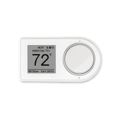 White Lux Geo thermostat shown in use on a horizontal installation.