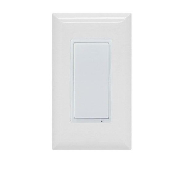 "A white smart wall switch with ""designer"" shaped paddle switch"