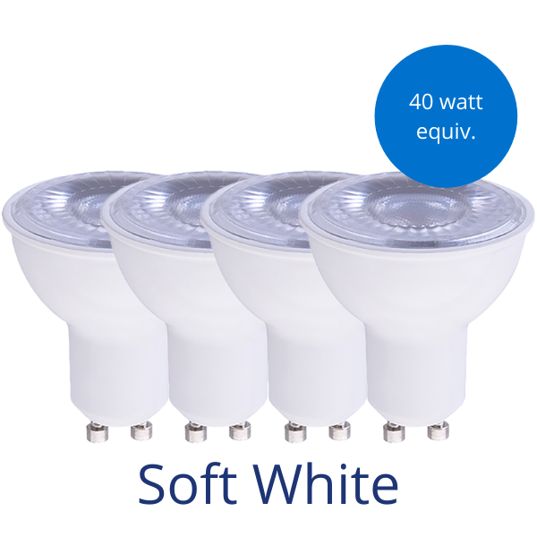 Four MR16 GU10 light bulbs in soft white with a burst reading 40 watt equivalent