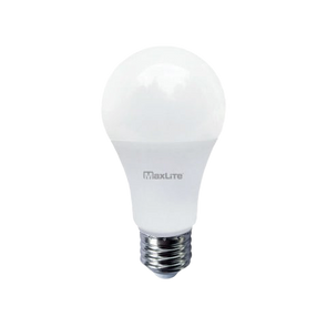 A standard A19 light bulb with MaxLite brand