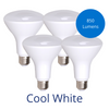 Four BR30 light bulbs in cool white with a bubble reading 850 lumens