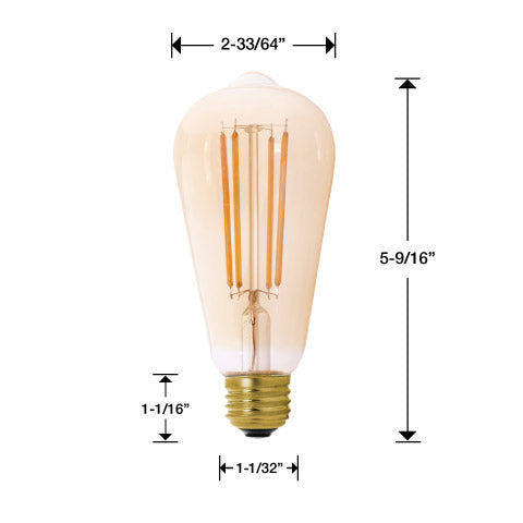 One MaxLite filament light bulb with measurements. 5 9/16 inches tall total. 2 33/64 inches wide at bulb. 1 1/32 inches wide at base. 1 1/16 inches tall at base.