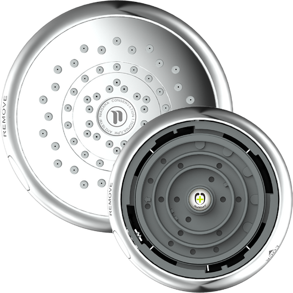 The showerhead with the removable cover detached