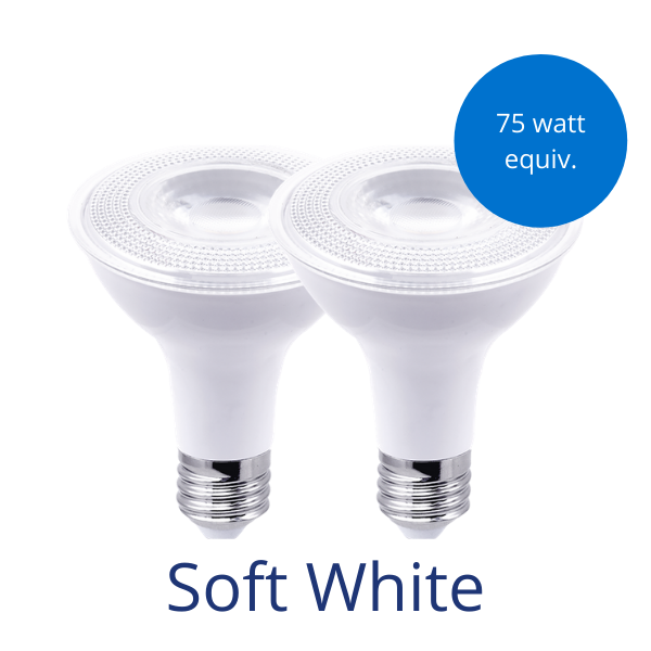 "Two Par30 bulbs with a blue burst that reads ""75 watt equivalent"" and the words ""Soft White"" at the bottom."