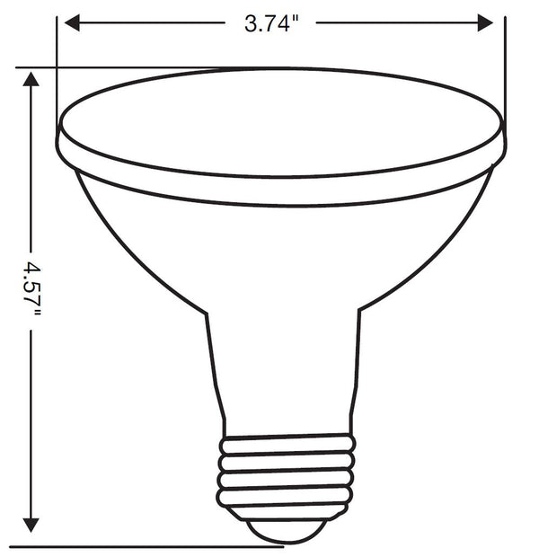 A line drawing of the bulb with a diameter of 3.74 inches and a height of 4.57 inches.