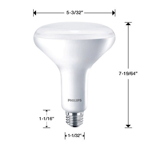 One Philips BR40 light bulbs with measurements. 7 19/64 inches tall total. 5 3/32 inches wide at bulb. 1 1/32 inches wide at base. 1 1/16 inches tall at base.