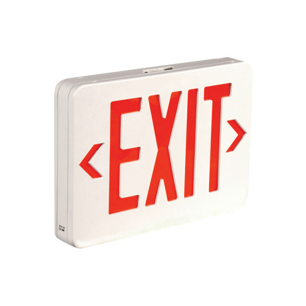 An Exit sign with red text