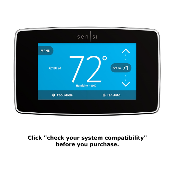 "Black Sensi Touch thermostat with text reading ""click on 'check your system compatibility' before you purchase."""