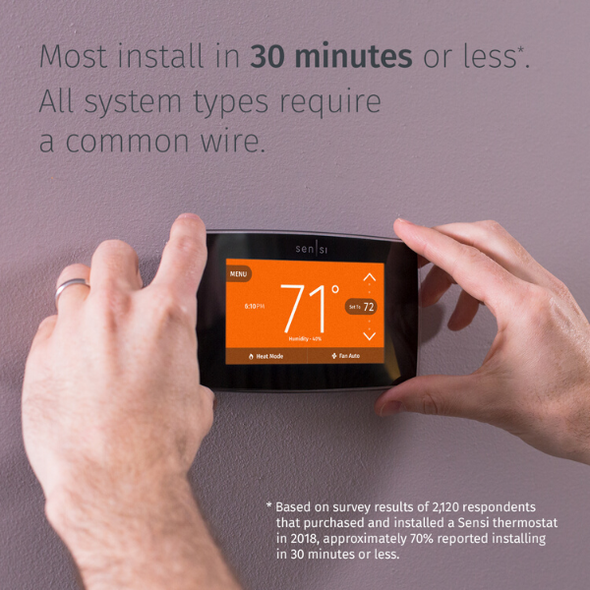 "Thermostat being installed with text ""Most install in 30 minutes or less. All system types require a common wire."""