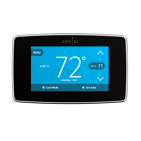 Emerson Sensi Touch thermostat with black case