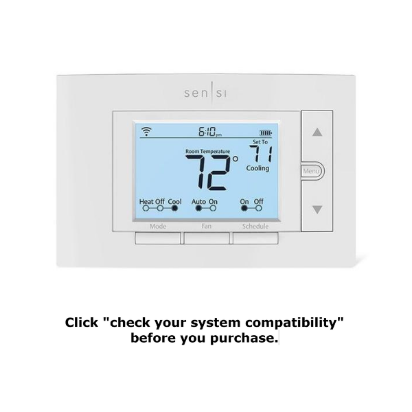 "Emerson Sensi thermostat with text reading ""click on 'check your system compatibility' before you purchase."""