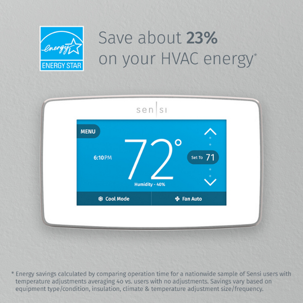 "White Sensi thermostat with Energy Star logo and text ""Save about 23* on your HVAC energy"""