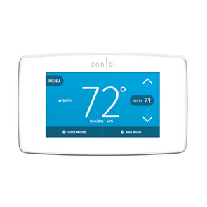 Emerson Sensi thermostat with a white case
