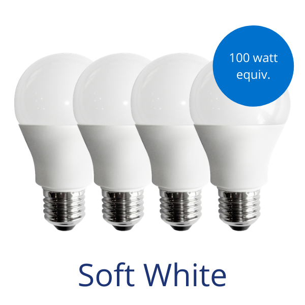 Four standard lightbulbs in soft white with a burst reading 100 watt equivalent