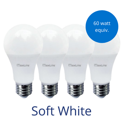 Four standard lightbulbs in soft white with a burst reading 60 watt equivalent