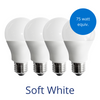 Four standard lightbulbs in soft white with a burst reading 75 watt equivalent