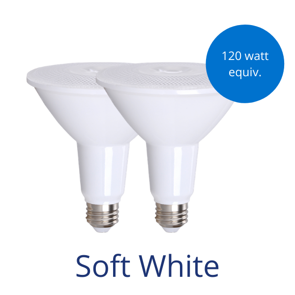 Two Par38 bulbs in soft white with a burst reading 120 watt equivalent