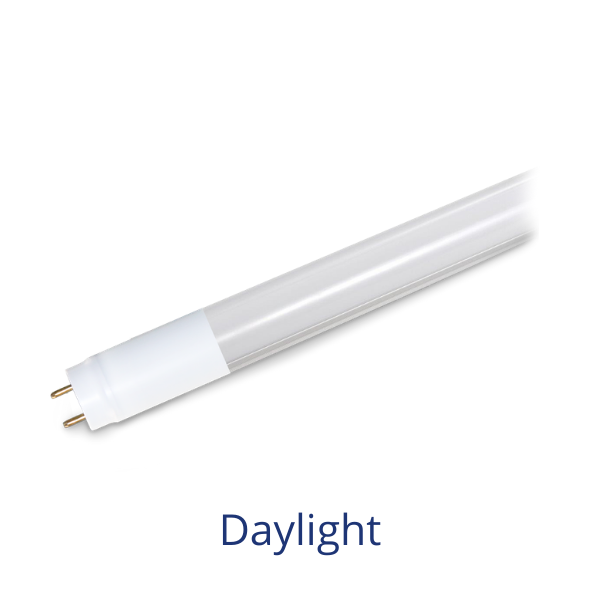 A T8 linear LED lamp with the word Daylight