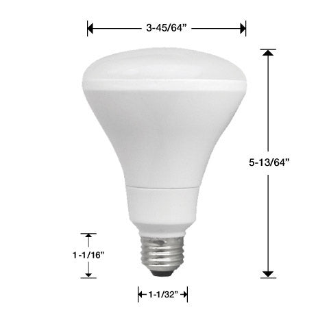 One TCP BR30 light bulb with measurements. 5 3/16 inches tall total. 3 45/64 inches wide at bulb. 1 1/32 inches wide at base. 1 1/16 inches tall at base.