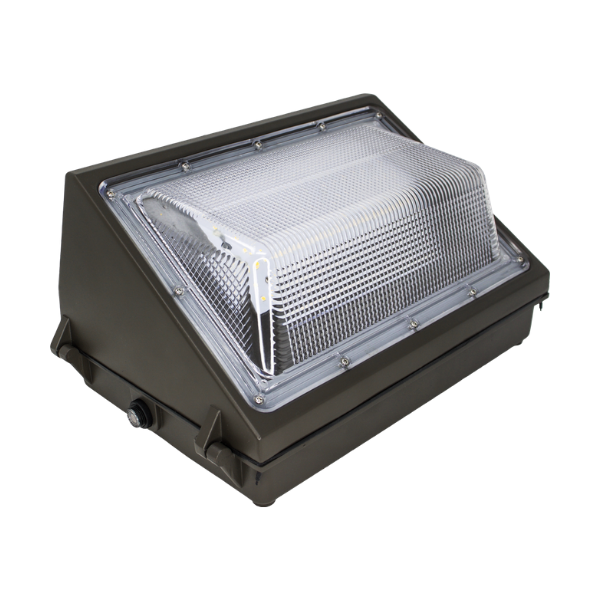 An outdoor LED light fixture. Black case with clear lens.