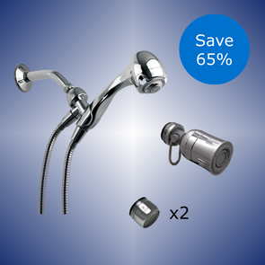 "One showerhead, one kitchen swivel aerator, one bathroom aerator marked ""x2"" and a blue burst reading ""Save 65%"" The background is a dark blue with highlight effects."