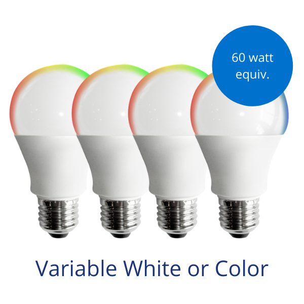 Four standard A19 light bulbs in variable white or color with burst reading 60 watt equivalent
