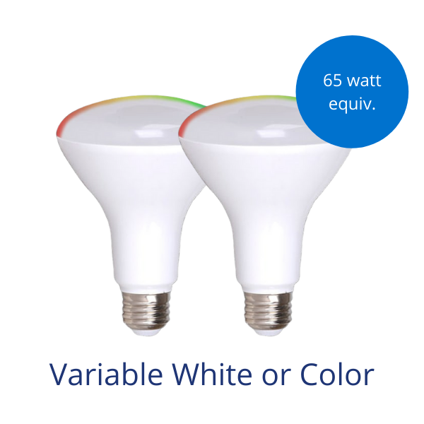 Two BR30 light bulbs in variable white or color with burst reading 65 watt equivalent