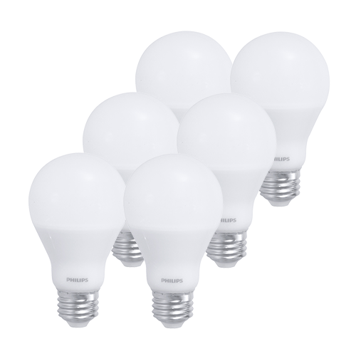 Six Philips A19 light bulbs