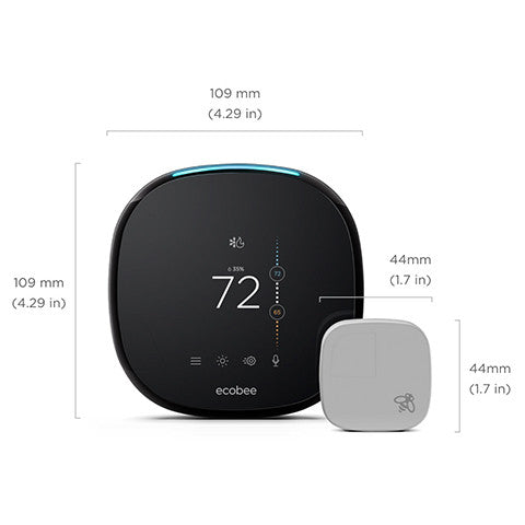 ecobee 4 thermostat and ecobee room sensor shown with measurements. Thermostat is 4.29 inches (109 millimenters) square. Sensor is 1.7 inches (44 millimeters) square.