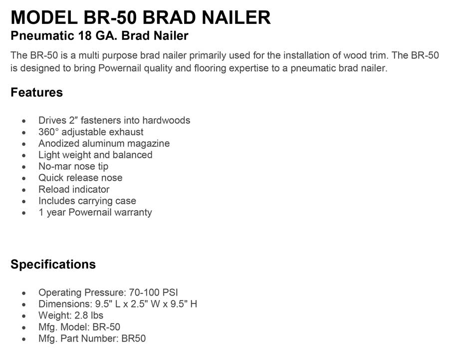 Powernail Model-BR-50-Brad-Nailer-Pneumatic-18-GA.-Brad-Nailer