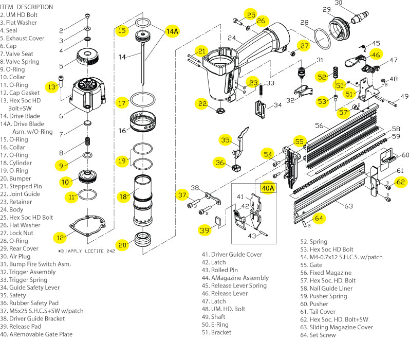 Powernail Model BR-50-Brad Nailer-Schematic
