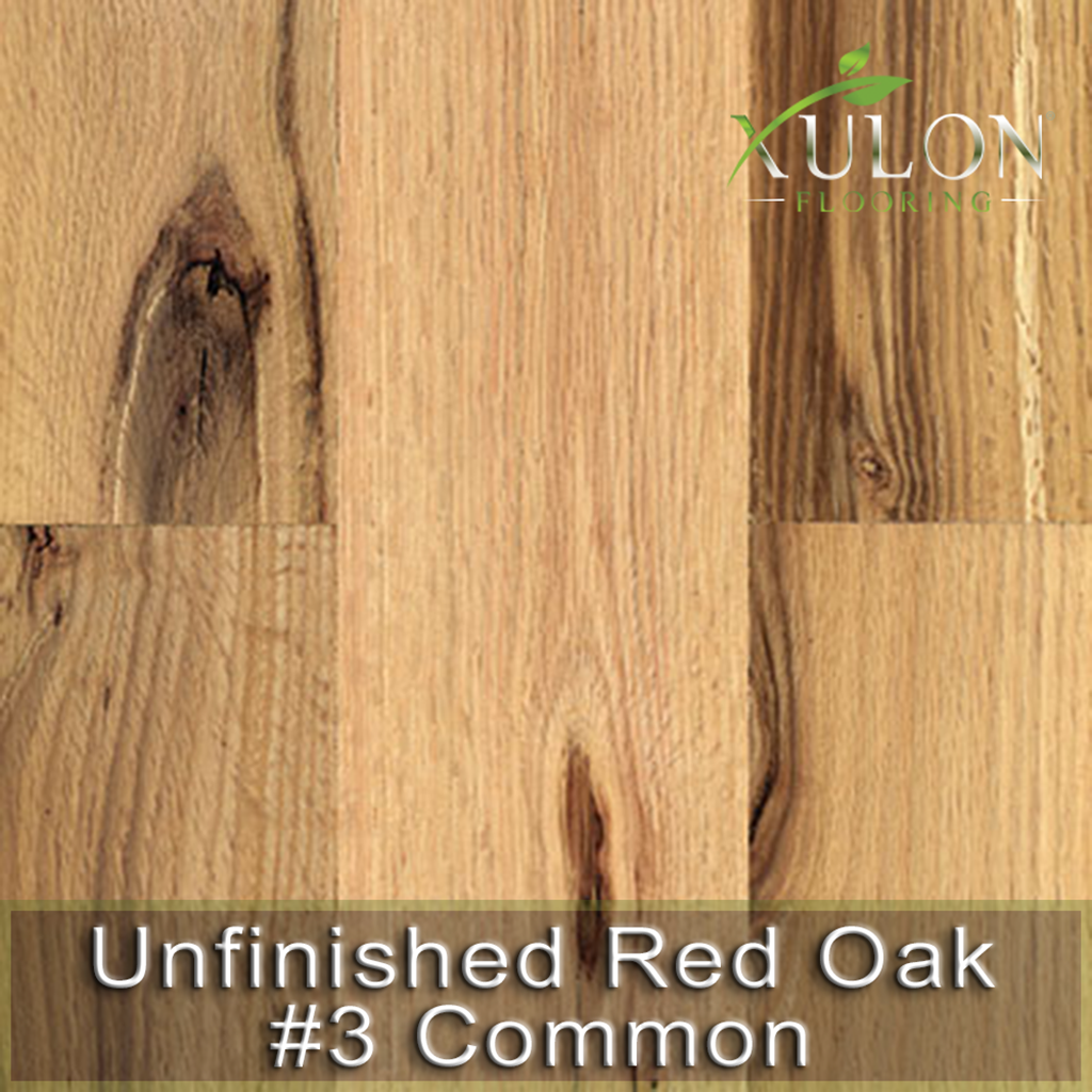 Xulon Flooring-Unfinished Red Oak #3 Common-Solid Hardwood
