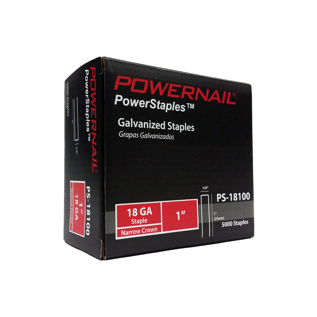 Powernail 18 GA 1'' Staples 1/4'' Crown PowerStaples 5M(5000Ct) Item No: PS18100