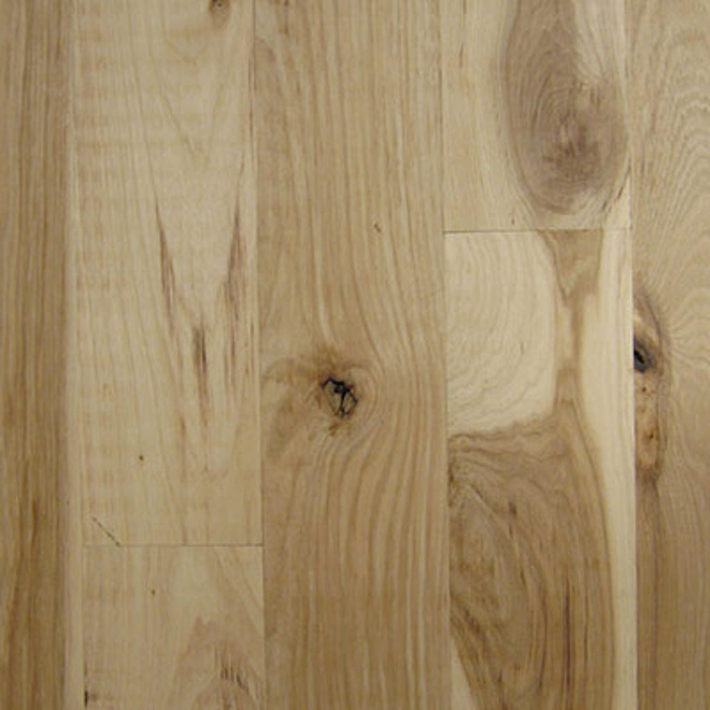 "Unfinished Hickory #3 - 4"" Wide 3/4"" thick Strip Solid Hardwood Xulon Flooring"