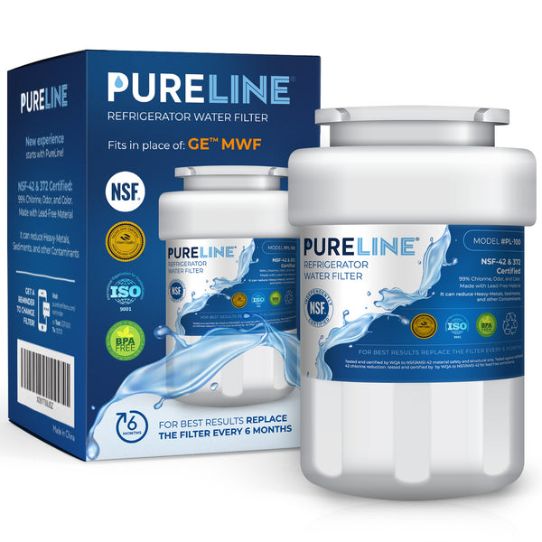 Pureline MWF Water Filter Replacement. Compatible with GE MWF, MWFP, MWFAP, MWFA, MWFINT, GWF, GWFA, HWF, HWFA, HDX FMG-1, Smartwater, WFC1201, GSE25GSHECSS, 197D6321P006