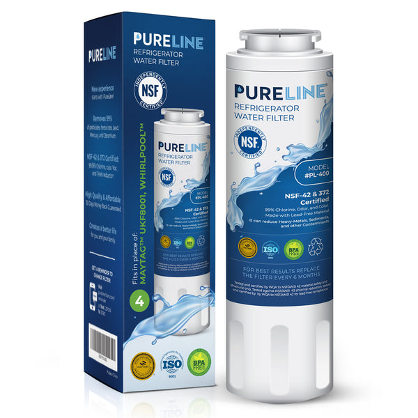 PURELINE NSF & WQA Certified UKF8001 Refrigerator Water Filter, Replacement for Maytag UKF8001P, Whirlpool EDR4RXD1, EveryDrop Filter 4, PUR 4396395 Puriclean II, UKF8001AXX-200, 469006 (Pack of 3) - Pure Line Filters