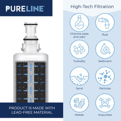 Pureline 4396508 & EDR5RXD1 Water Filter Replacement for Whirlpool 4396508, 4396510, WRS322FDAM04, Every Drop Filter 5, EDR5RXD1, NLC240V, PNL240V, 4396508p,4396510p, Kenmore 46-9010, 9085