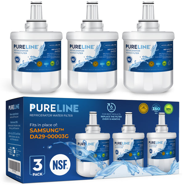 Samsung Water Filter DA29-00003G Samsung Aqua Pur Plus Replacement with Advanced Filtration. Also Fits Aqua-Pure Plus DA29-00003A, DA29-0003B and PUR W10132126 - By Pure Line (3 Pack) - Pure Line Filters
