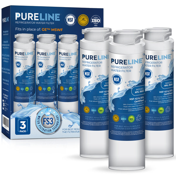 Pureline MSWF Water Filter Replacement. Compatible with GE MSWF, 101820A, 101821B, MSWF3PK, and MSWFDS