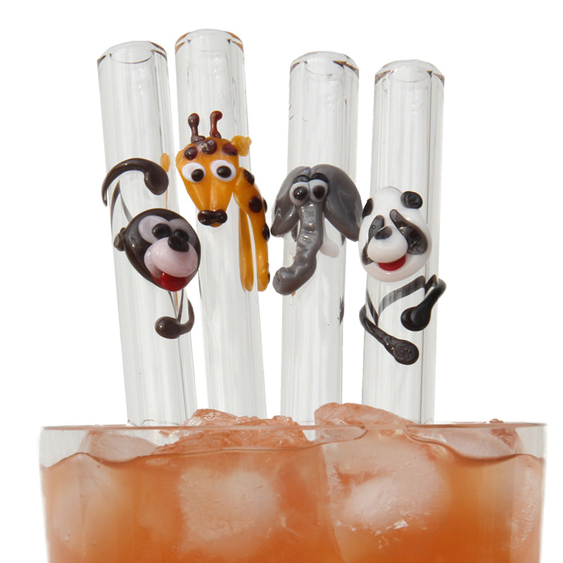 monkey, giraffe, elephant, panda wild animal theme set glass straws