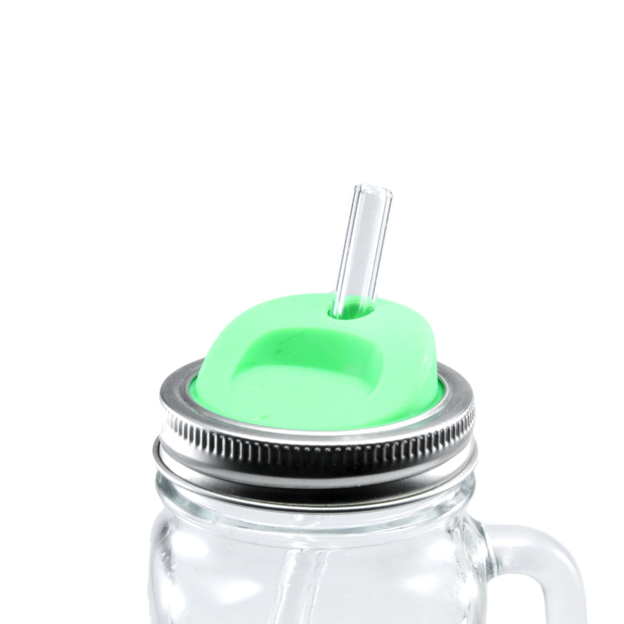 Green Silicone Mason Jar Lids - Glass Sipper