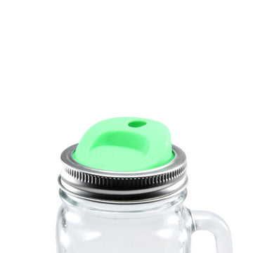 Silicone Mason Jar Lids with stainless steel bands - Glass Sipper