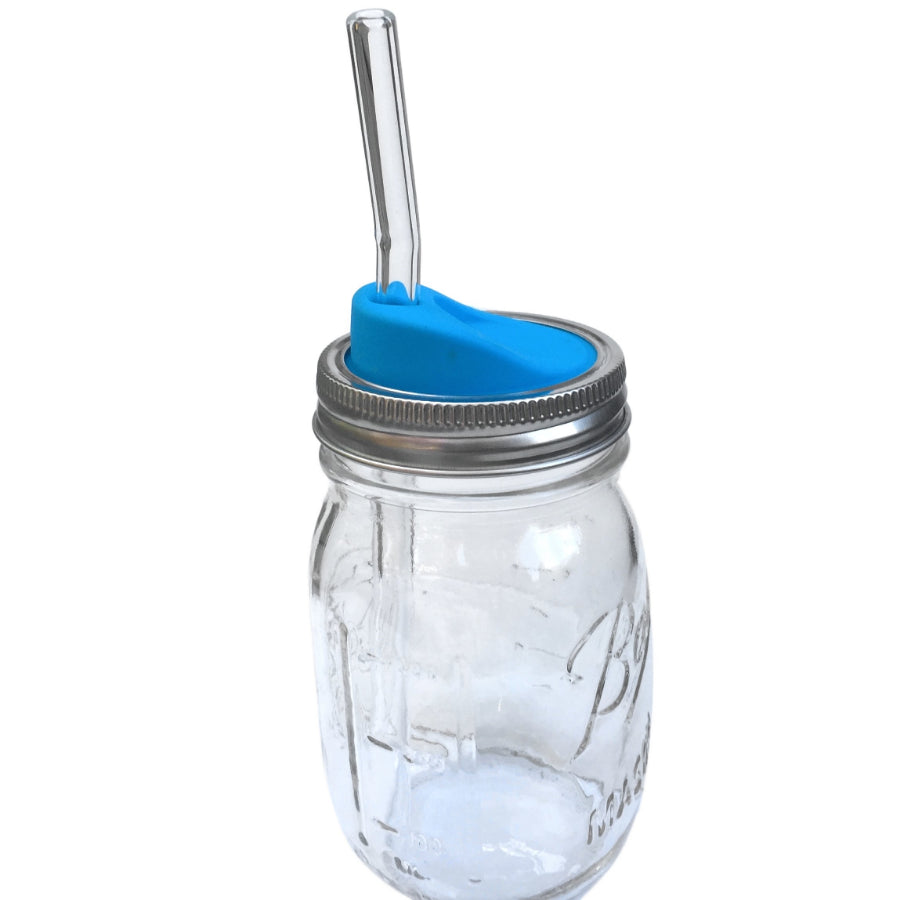 Blue Silicone Mason Jar Lids - Glass Sipper